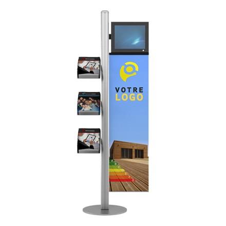 Mât LCD pour 3 brochures