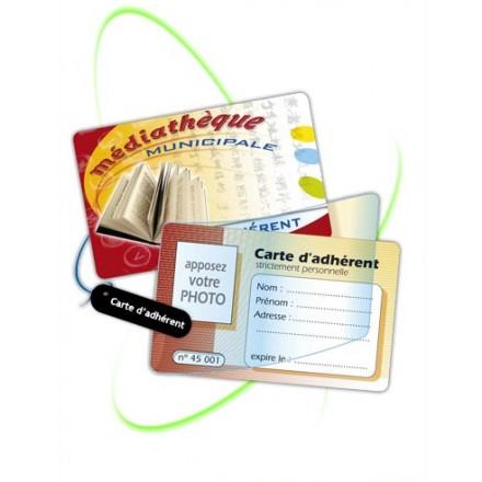 Cartes d'adhérent PVC numérotées avec rabat adhésif